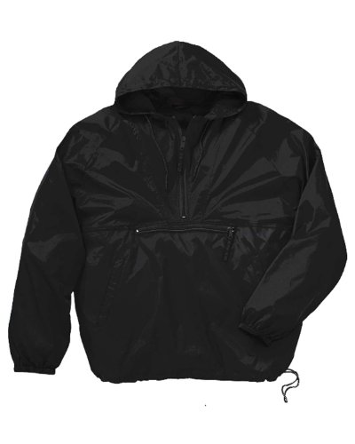 Harriton Packable Nylon Jacket - BLACK - (Lightweight Nylon Pullover)
