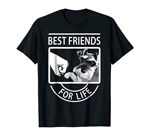 Mens Schnauzer Best Friends For Life tshirt Medium Black