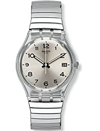 Swatch Unisex Steel Bracelet Plastic Case Swiss Quartz Silver-Tone Dial Analog Watch GM416B