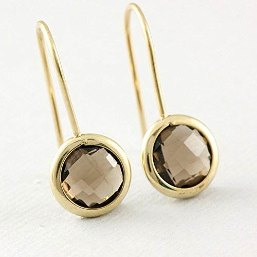 (Gem Earrings Smoky Quartz Earrings 14K Solid Gold Bezel Brown Natural Stone Dainty Graduation Birthday Gift for Women Genuine Gemstone Smoky Quartz Available in White Gold and Rose Gold)