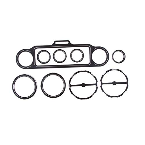 perfk Black Gauge Bezel Speedometer Trim Ring Speaker Cover Kit for Harley Touring Models 1996-2013: