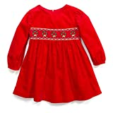 Bonnie Jean Smocked Christmas Wreath Corduroy Dress (0m-6x) (3t) Red
