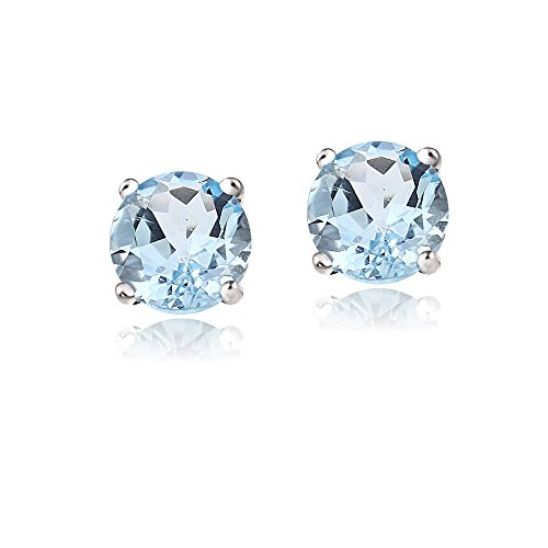 Bria lou 14k White Gold Round-Cut Blue Topaz 6mm Solitaire Gemstone Stud Earrings (2.1ct TGW) - Stone Age Earrings