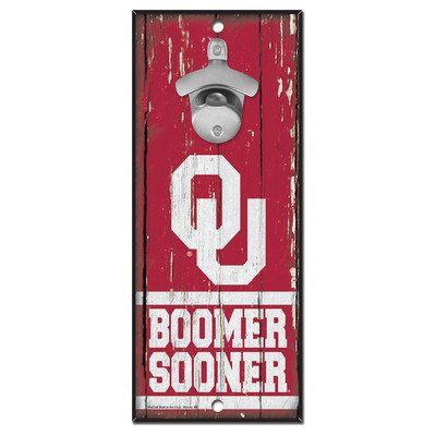 WinCraft NCAA Oklahoma Sooners 5x11 Wood Sign Bottle Opener, Team Colors, 5