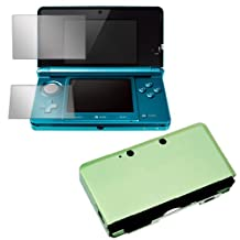 GTMax Green Aluminum Hard Metal Cover Case+2 Pieces Clear LCD Screen Protector For Nintendo 3DS