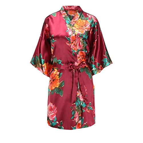 Belted Satin Robe - EPLAZA Women's One Size Rose Print Bride Bridesmaid Short Satin Kimono Robes for Wedding Party Getting Ready (Burgundy, 1)