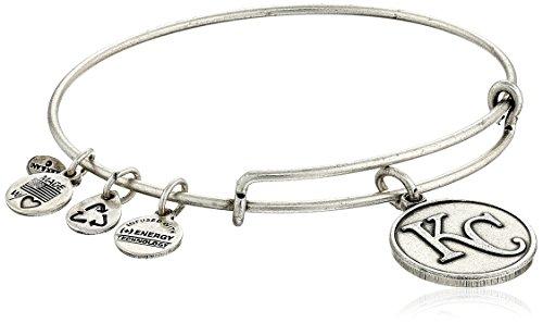 (Alex and Ani Kansas City Royals Cap Logo Expandable Rafaelian Silver Bangle Bracelet )