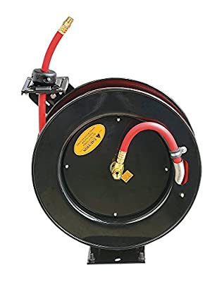 "ReelWorks L805083A Steel Retractable Air Compressor/Water Hose Reel with 3/8"" x 25' Hybrid Polymer Hose, Max. 300 psi"