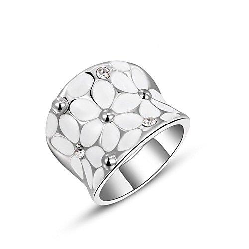 JAJAFOOK Womens Elegant White Enamel Flower Band Bloom Petal Wedding Engagement Ring Crystal -