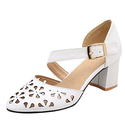 Mee Shoes Women's Dolly Ankle Strap Block Heel Court Shoes White 06I2i