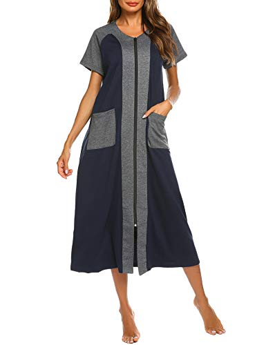 Ekouaer Cotton Zip Front Robe with Two Side Pockets Nightgowns Full Length Long Duster House Coat(Navy Blue,M)