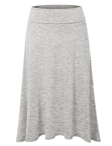 DRESSIS Women's Basic Elastic Waist Band Flared Midi Skirt HGREY XL ()