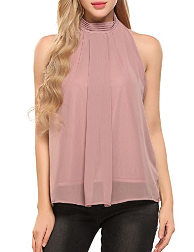 Halife Women's Casual Pleated Front Sleeveless High Neck Chiffon Blouse Tops Dark Pink (Shirred Front Tank)