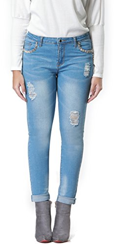 Skirt BL Women's Hight Waisted Butt Lift Stretch Ripped Skinny Jeans Distressed Denim Pants (US 16, Blue 24)