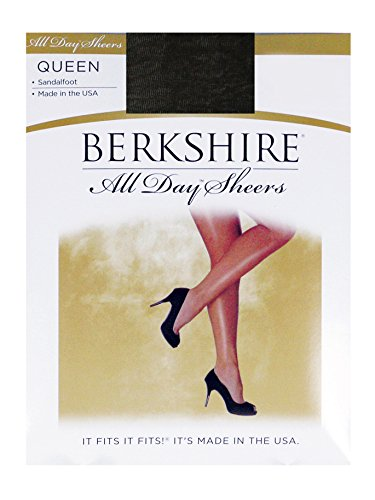 Berkshire Women's Plus-Size Queen All Day Sheer Non-Control Top Pantyhose - Sandalfoot, Fantasy Black, 7X