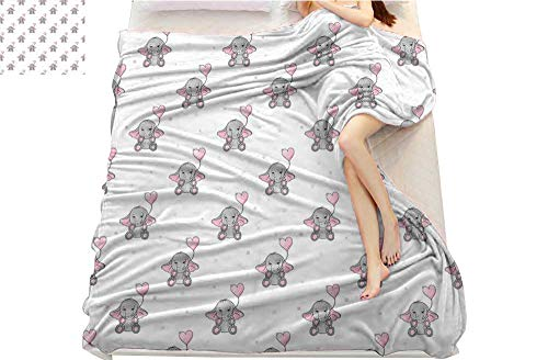 lacencn Elephant Nursery Decor, Weave Pattern Extra Long Blanket, Cute Elephants Holding Heart Shaped Pink Balloons Girlish, Custom Design Cozy Flannel Blanket, (W90 x L110 Inch Grey Light Pink White ()