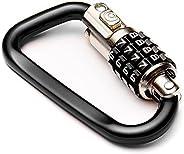 """EyezOff 3.5"""" Carabiner Aluminum Multi Purpose Lock 4-Dial Combination D-Shape (B"""