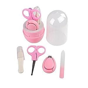 VWH 4Pcs Baby Manicure Set Safe Versatile Personal Care healthcare Kit For Newborns With Case (pink)