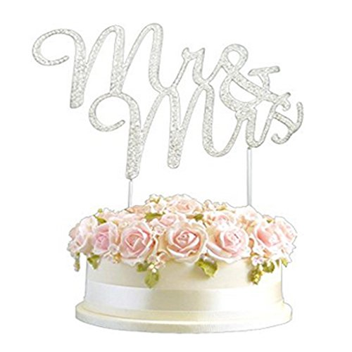 Rhinestone Silver Diamante Mr & Mrs Annoucement Wedding Cake Diamonte Decor Sparkle