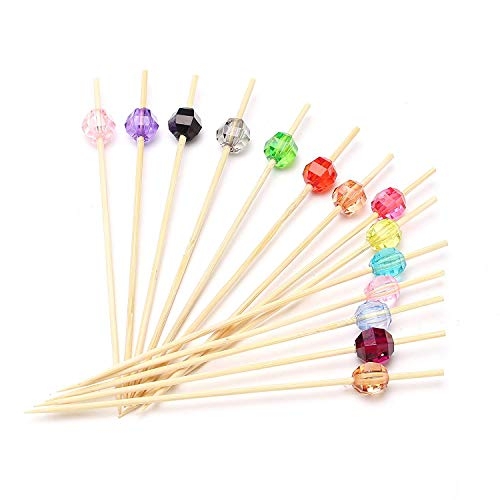 100ct Bamboo Cute Cocktail Picks, Disposable Eco-Friendly Fruit kabob Skewers Picks for kinds of Parties