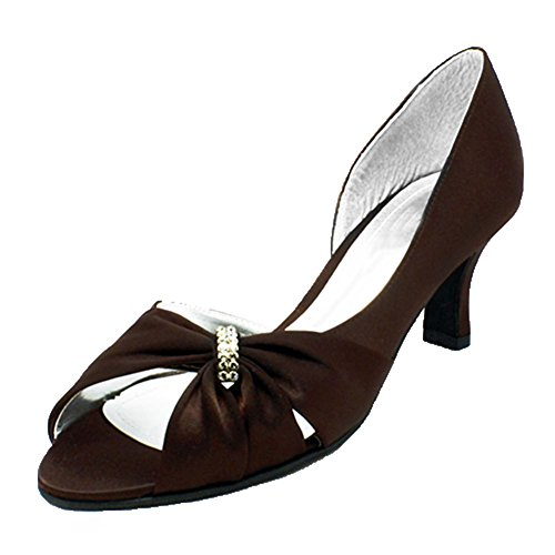 de Toe bobine talon chaussures Mesdames scrunch satin soirée brown Peep EHXqw0q