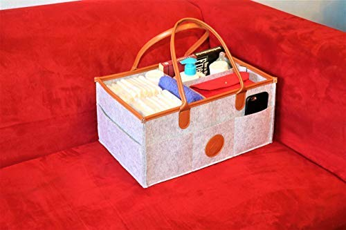 Romote Nappy Caddy Organiser Baby Diaper Organizer Infant Diaper Caddy Organizing Felt Basket Portable Nursery Storage Bin Portable Holder Bag for Changing Table and Car Nursery Essentials Grey