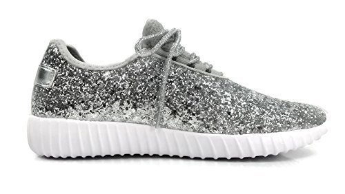The Collection Jill Womens Athletic Shoes Casual Breathable Glitter Sneakers, Silver, 10