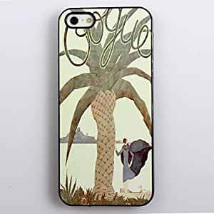 WEV Modern Girl Under The Tree Pattern Aluminum Hard Case for iPhone 4/4S