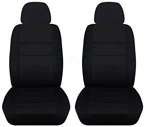 Solid Car Seat Covers w 2 Separate Headrest Covers: Black - Semi-Custom Fit - Front - Will Make Fit Any Car/Truck/Van/SUV (23 Colors)