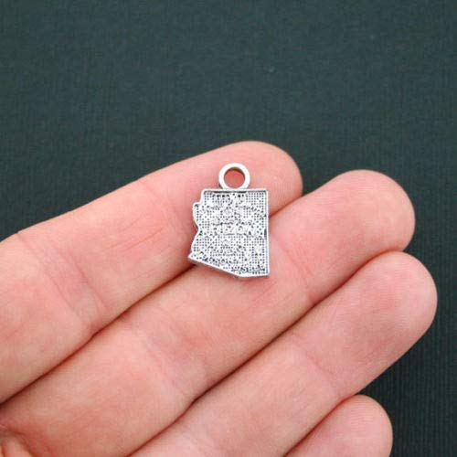 Jewelry Making 8 Arizona State Charms Antique Silver Tone - SC4767 Perfect for Pendants, Earrings, Zipper pulls, Bookmarks and Key Chains