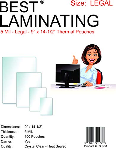 Best Laminating® - 5 Mil Clear Legal Size Thermal Laminating Pouches - 9 X 14.5 - Qty 100 (Clear Legal Pouch Laminates)