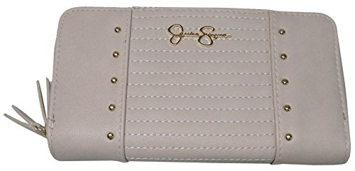 Jessica Simpson TILLY Parchment Leather Double Zip Around Wallet JS14008 (Wallet Leather Jessica)