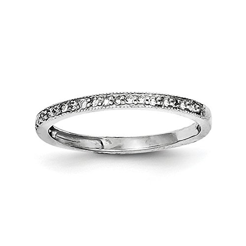 Size 8 Solid 925 Sterling Silver Diamond Wedding Band (2mm) (.15ct.) by Sonia Jewels