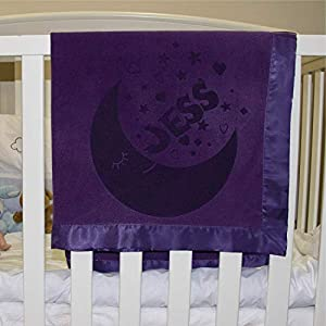 Personalized Baby Blankets Newborn Gifts for Boys, Girls Nursery Décor with Moon Design and Name 3 Different Color Options D10