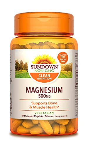 Sundown Naturals Magnesium, 500 mg (180 Coated Caplets) Mineral Supplement, Meets Daily Recommended Intake (Packaging May Vary)