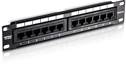 (TRENDnet 12-Port Cat5/5e Unshielded Wallmount or Rackmount Patch Panel, 10 Inch Wide, 12 x Gigabit RJ-45 Ethernet Ports, TC-P12C5E)