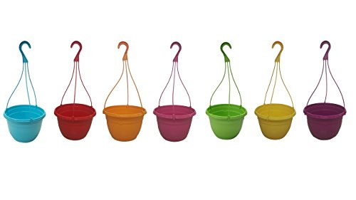 - 7 New 10.5 Inch Round Plastic Hanging Basket Decorative Fancy Planter, Great Pot for Home Or Patio Garden 7 Pots 1 of Each Color, Color Mixed