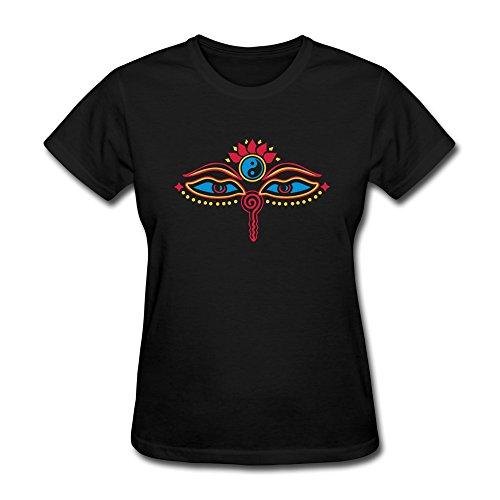WXTEE Women's Buddha Eyes Yin Yang Wisdom Tee Size XXL Black