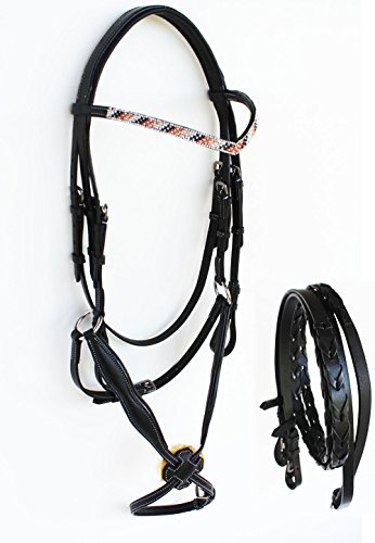 Amish Horse EQUESTRIAN Leather English Bridle Figure 8 Jumping Reins BLACK 803S43