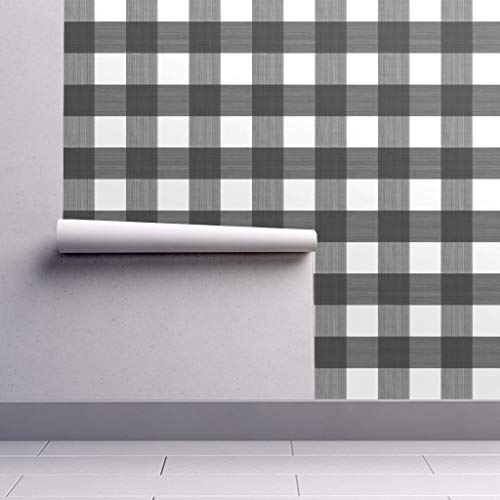 - Peel-and-Stick Removable Wallpaper - Black Buffalo Plaid Buffalo Plaid Buffalo Plaid Gingham Check Black by Danika Herrick - 24in x 60in Woven Textured Peel-and-Stick Removable Wallpaper Roll