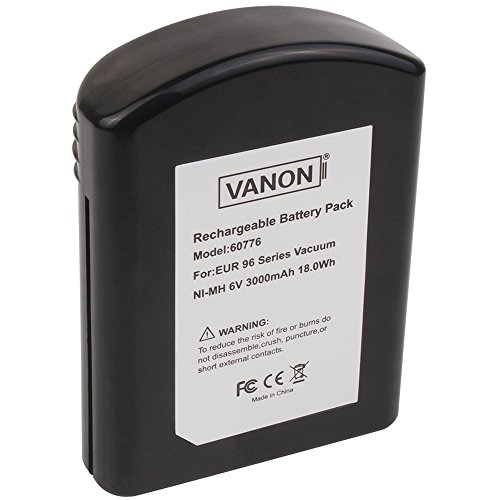 - VANON 3000mAH 6V Replacement Battery for Eureka, NI-MH Extended Battery for Eureka 96 series vacuum, 60776 68112 39150 Replacement Battery