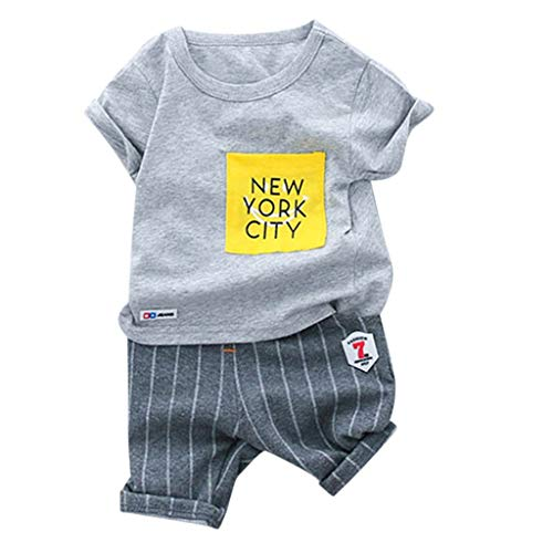 Kehen Infant Baby Toddler Boy Summer Clothes 2pc New York City Short Sleeve T-Shirt + Striped Shorts Cotton Outfit Gray -