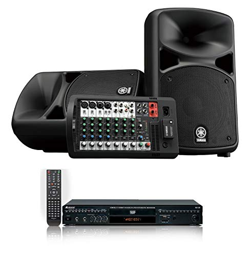 Yamaha STAGEPAS 600BT All-in-one Portable Bluetooth 680W PA system Bundle with Acesonic DGX-220 HDMI Multi-Format Karaoke Player