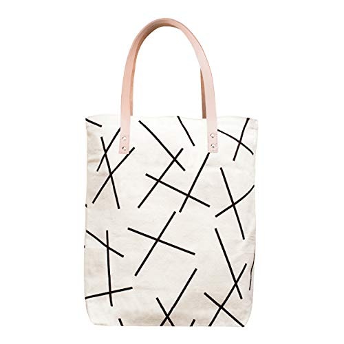 Heavy Duty Canvas Tote Bag Salmon Black Mikado Lines Pattern - Leather Straps, Zipper and inside pocket ()
