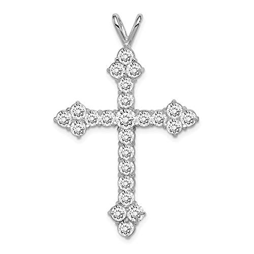 925 Sterling Silver Cubic Zirconia Cz Cross Religious Pendant Charm Necklace Budded Fine Jewelry Gifts For Women For Her ()