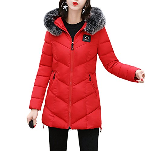 Zhhlaixing Abrigo de moda Cotton Women Slim Hooded Coat Thick Fur Collar Down Jacket Long Style with Quality Red