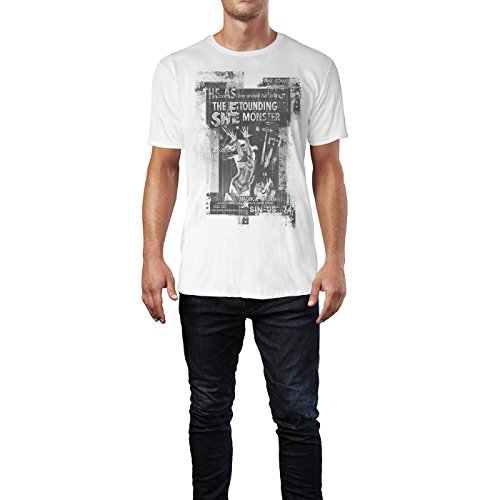 SINUS ART® SHE The Astounding Monster Herren T-Shirts stilvolles weißes Fun Shirt mit tollen Aufdruck