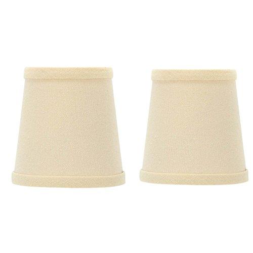 Chandelier Silk Brass (Upgradelights 4 Inch Set of 2 Chandelier Shade Silk Beige English Barrel with Brass Clip (2.5x4x4))