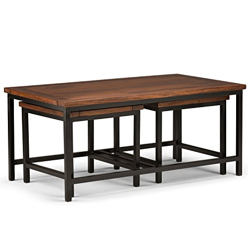 Simpli Home Skyler Solid Mango Wood & Metal 3 Piece Nesting Coffee Table, Dark Cognac Brown - 2 Piece Set Computer Desk
