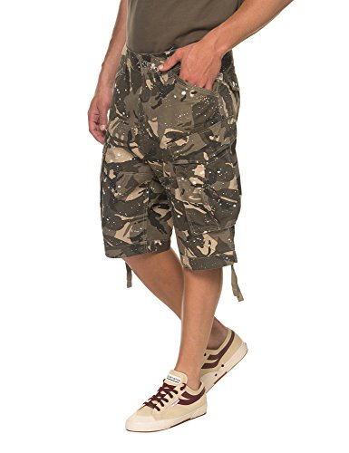 G-Star Men's Rovic Dc Loose Men's Cargo Shorts With Camo Print in Size 30 Green by G-Star Raw